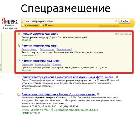 Как попасть в спецразмещение яндекс директ most popular google adwords banner sizes